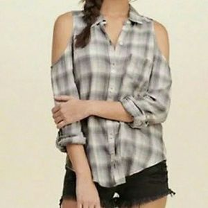 Hollister Cold Shoulder Gray Plaid Flannel Sz Med